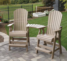 Fanback Adirondack Pub Chair With Clip On Settee Table Country