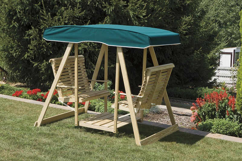 Gazebo Depot Double Lawn Swing Canvas Top Gliders