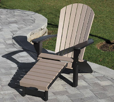 Fanback Adirondack Chair Built In Ottoman Country