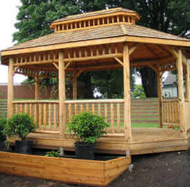 Log Oval Gazebo