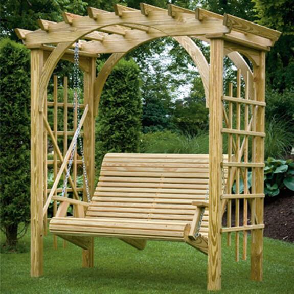 Roman arbor swing porch swings gazebo depot for Garden arbors designs