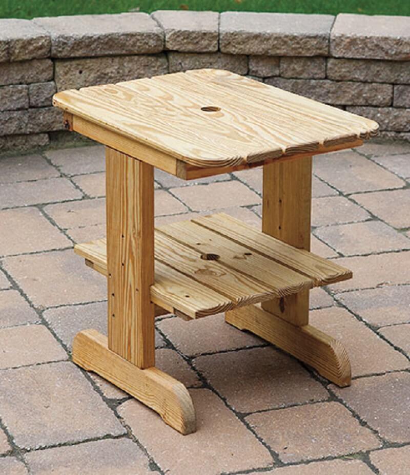 Wood Settee Table Umbrella Hole. Zoom